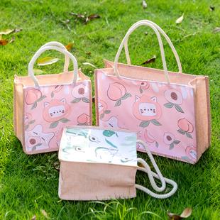 卡通仿麻包大号帆布拉链手提袋大容量环保购物袋少女百搭手拎袋子