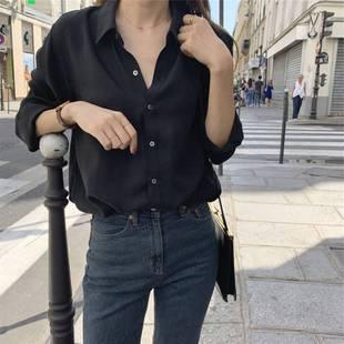 黑色衬衫女2021秋韩国复古港味通勤纯色上衣外穿百搭长袖衬衣
