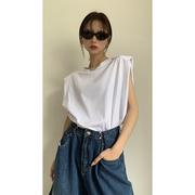 红人馆 白色t恤女纯棉短袖夏季2021年宽松设计感小众无袖上衣