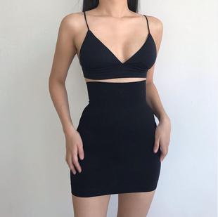 欧美性感包臀裙子女2021夏季黑色打底修身弹力高腰显瘦半身裙