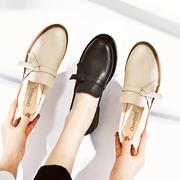 傲麦粗跟乐福鞋子2019春季英伦风小皮鞋一脚蹬仙女鞋百搭单鞋