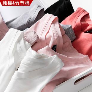 夏装纯棉短袖t恤女2018韩范竹节棉宽松衣服半袖纯色大码上衣