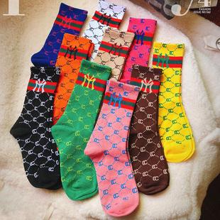 复古英伦风中筒袜NY字母袜子女欧美走秀款小腿袜网红糖果色堆堆袜