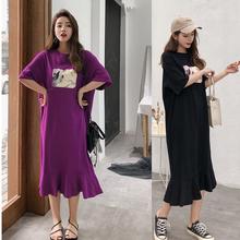 2019夏季韩国长款宽松大码过膝荷叶边裙摆短袖显瘦连衣裙