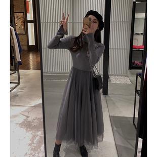珊珊 2019春季女装法式赫本中长款气质针织拼接网纱连衣裙子
