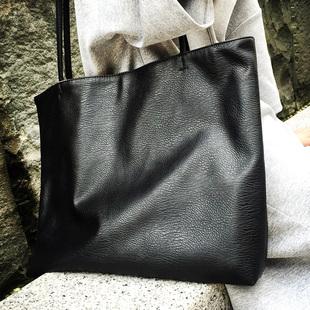 秋冬欧美大容量单肩包软皮 黑 单肩大包时尚手提包街女包