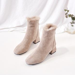 鞋夫人方头中跟兔毛短靴加绒冬季粗跟后拉链马丁靴百搭chic女靴子