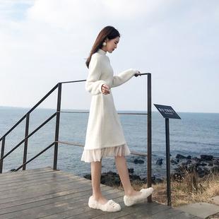 配大衣的长裙子针织毛衣裙过膝中长款打底裙法国小众连衣裙女秋冬