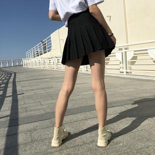 百褶裙女夏2019高腰黑色半身裙a字裙学院风学生防走光短裙裤