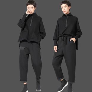 欧洲站2019春秋女套装长袖高领卫衣蝙蝠T恤 个性哈伦裤两件套