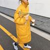 韩国秋冬季中长款宽松加厚过膝黄色高领羽绒棉服女棉衣外套