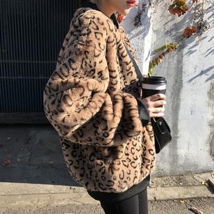 2018秋冬装加厚豹纹抓绒外套女夹克毛绒绒衣服宽松毛毛棒球服