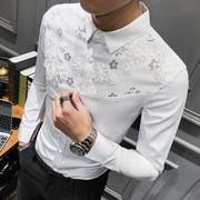 春季男士长袖衬衫潮流青年蕾丝花边发型师衬衣外套潮