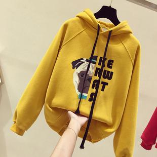 黄色卫衣女短款加绒加厚2018冬季连帽套头港味上衣潮