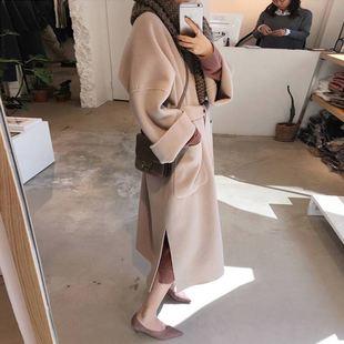 chic呢子大衣女中长款2018秋冬森女双面羊绒waitmore毛呢外套
