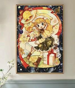 圣诞礼物印花十字绣2021自己绣手工客厅可爱卡通小件女孩刺绣