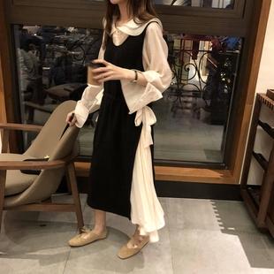 乌77 拼接设计感假两件背心裙 宽松抽绳收腰显瘦中长款连衣裙