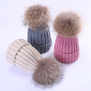 儿童秋冬保暖男童女童婴儿针织毛线加绒帽子宝宝真毛大毛球潮