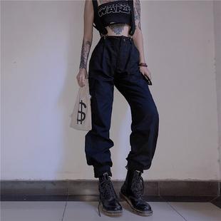 欧美ins宽松高腰可调节工装背带裤女黑色美式嘻哈长裤潮