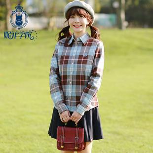 学院风格子衬衫纯棉少女长袖磨毛英伦2019春秋装初中学生衬衣