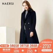 娜尔思女装羊毛大衣2019冬季时尚宽松中长款水貂毛皮外套加厚