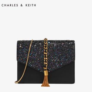 CHARLES&KEITH信封包CK2- 流苏装饰单肩链条小方包