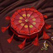 高档欧式花婚礼婚庆喜糖盒子婚庆用品三角形蛋糕糖盒