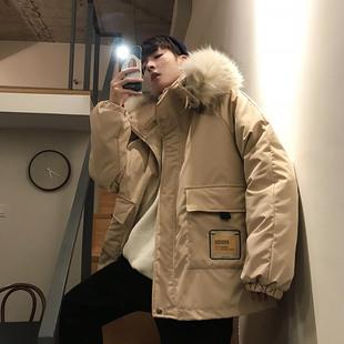 文艺男女店冬季工装棉衣连帽加厚棉袄潮流大毛领棉服男士外套