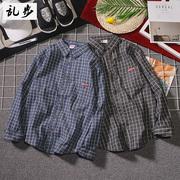 日系长袖格子衬衫男女 复古衬衣国潮牌学生上衣寸衫外套
