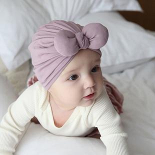 秋冬婴儿帽子新生婴幼儿公主可爱女宝宝胎帽冬季套头帽棉蝴蝶结帽