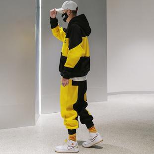 加绒加厚卫衣套装2018欧美嘻哈潮流连帽男士两件套外套男潮牌
