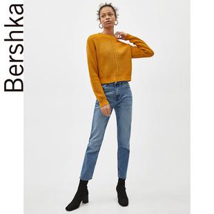 Bershka 女士 中腰直筒及踝牛仔裤浅蓝色铅笔裤长裤 00