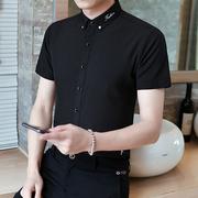 夏季弹力衬衫男短袖韩版修身休闲免烫衬衣男士刺绣黑色帅气寸衫潮