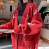开衫毛衣女2019春装慵懒风宽松学生中长款红色针织衫外套