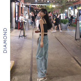 DIAMOND 2019春夏浅色阔腿裤高腰牛仔裤女显瘦百搭宽松直筒裤长裤