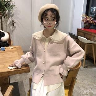 早春糖果色珍珠扣开衫针织毛衣+娃娃领内搭雪纺衬衣网红两件套女