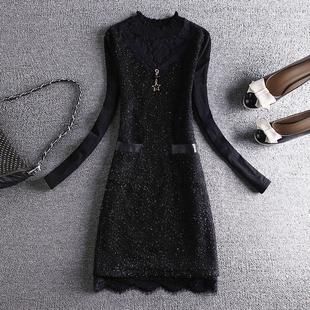 2018时尚蕾丝打底衫女式秋冬长袖中长款加绒加厚上衣洋气小衫
