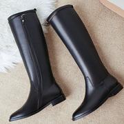 2018冬马靴骑士靴女鞋英伦帅气高筒平底不过膝长靴皮长筒靴子
