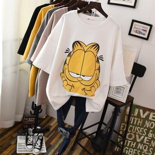 韩国秋冬季半袖女磨毛卡通猫图案减龄遮肉纯棉宽松短袖t恤女