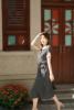 沐遥 D家 26姆米重绉真丝 翻领撞色黑白波点优雅气质显瘦连衣裙