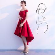 一字肩敬酒服新娘礼服现代2019红色孕妇结婚连衣裙遮肚子