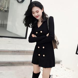 2019女装v领毛衣外套女港味复古chic短裙子中长款针织衫