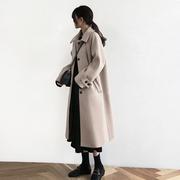 2018冬季赫本风毛呢外套女中长款过膝加厚燕麦色呢子大衣