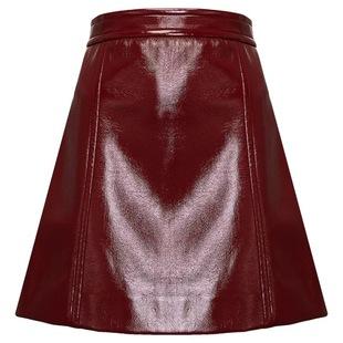 糖力秋季百搭酒红色PU短裙包臀裙女高腰显瘦a字裙小个子半身裙子