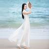 初蝉原创设计春夏女装改良中式旗袍奥黛棉麻无袖长款连衣裙