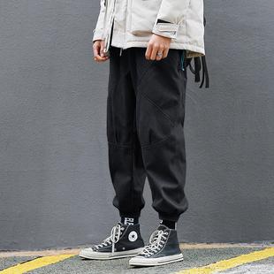 净化眼球自制冬季潮牌束脚裤男宽松加绒加厚工装裤嘻哈运动裤