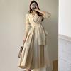 韩国chic春季法式气质翻领交叉绑带收腰显瘦长袖百褶连衣裙长裙女