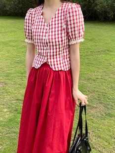 花田橱窗红色格子衬衫女夏复古泡泡袖波浪边衬衣短款绑带上衣