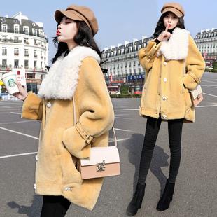 外套女羊羔毛中长款2018冬装宽松显瘦女装加厚羊剪绒大衣