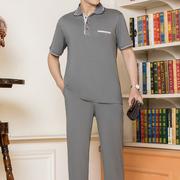 中老年运动套装男夏季短袖T恤爸爸装大码裤中年男士运动衣服